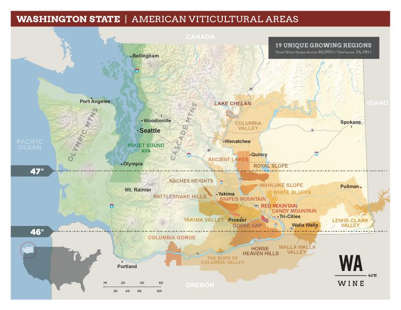 Washington State 19 AVA Map