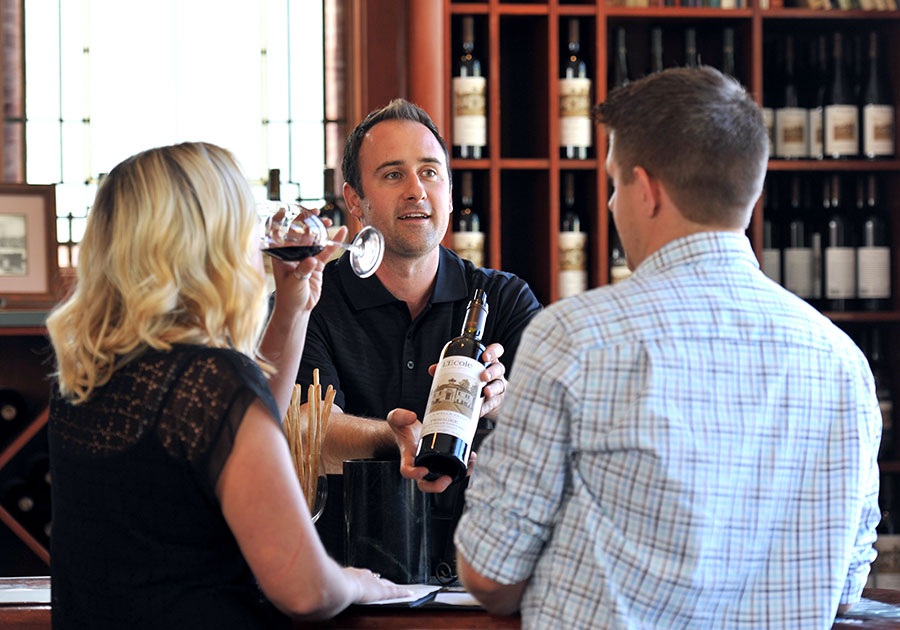 Wine education in the Tasting Room