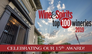 Schoolhouse photo with the Top 100 Wineries Award logo