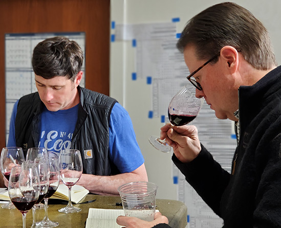 Owner & Managing Winemaker, Marty Clubb and Winemaker, Marcus Rafanelli, working on the new vintages blends.