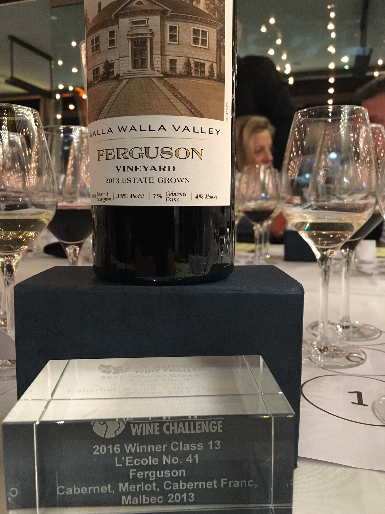 "2013 Estate Ferguson wins the Int'l Trophy for ""Best Bordeaux Blend in the New World"""